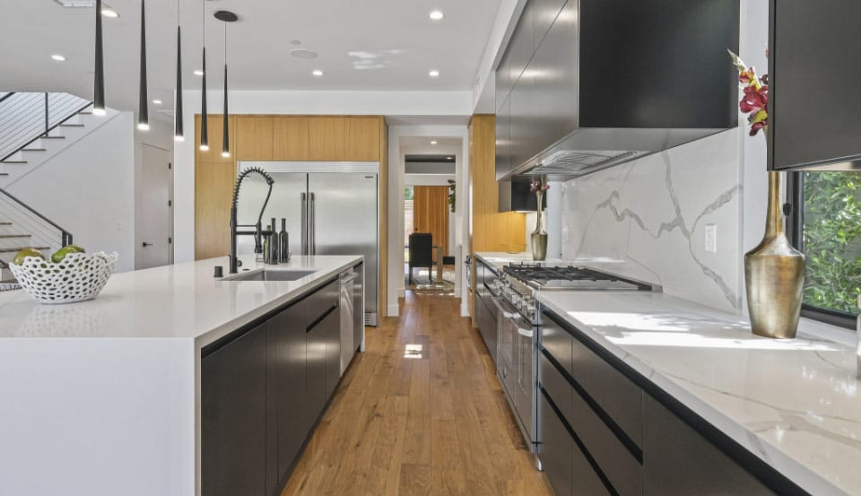modern kitchen with long island