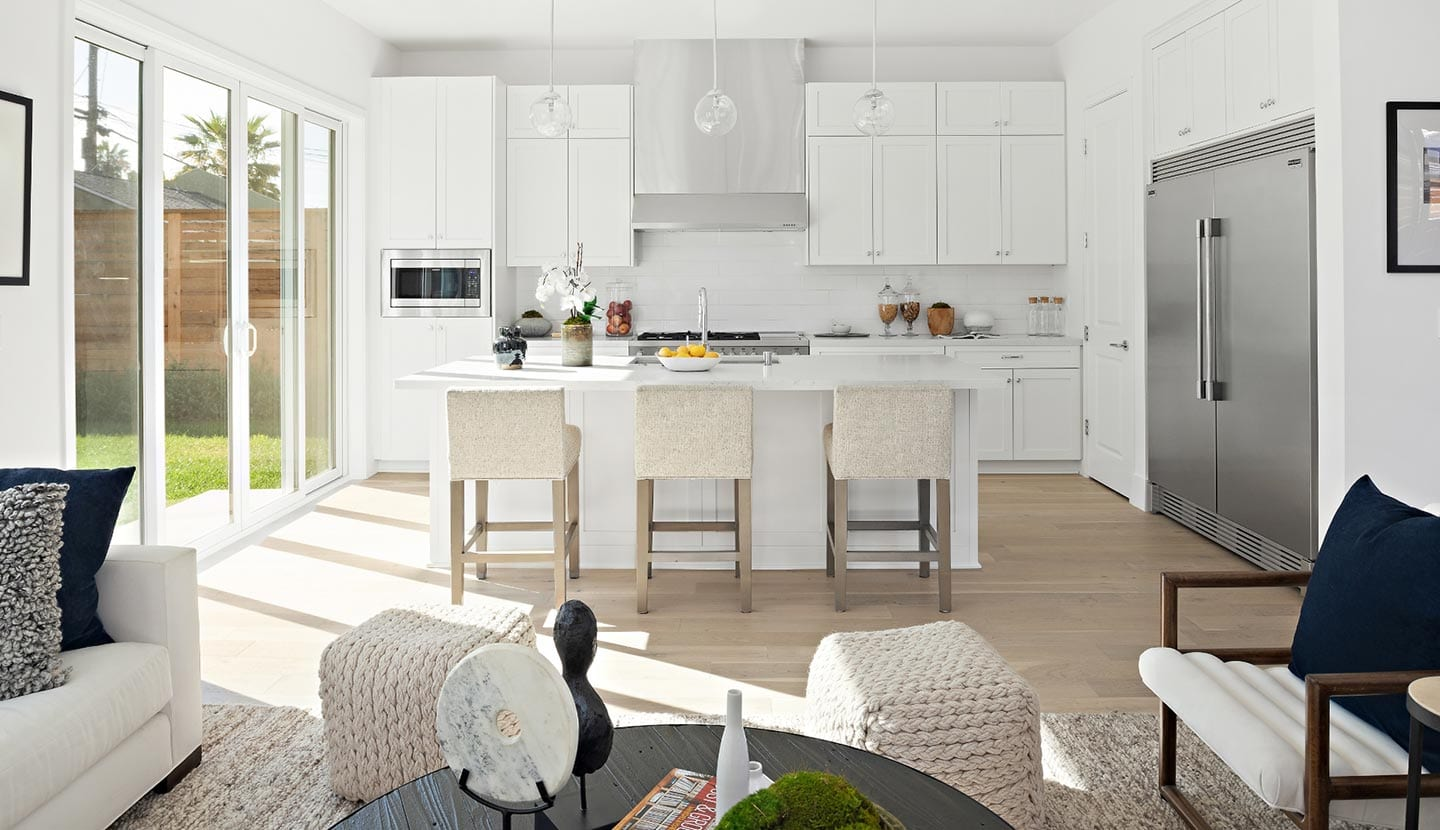 New Home Kitchen with large sliding glass doors
